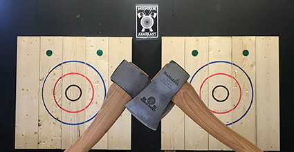 20%  of axe throwing